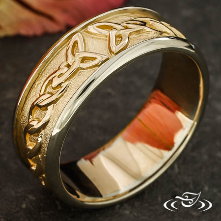 14KT ROSE AND WHITE GOLD CELITC BAND
