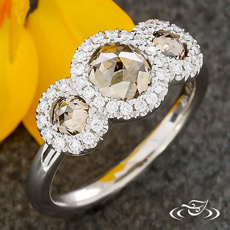 PLATINUM 3 STONE HALO RING
