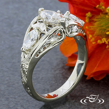 FLORAL MARQUISE ENGAGEMENT RING