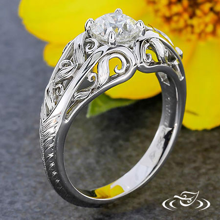 ANTIQUE LEAF DOME ENGAGEMENT RING