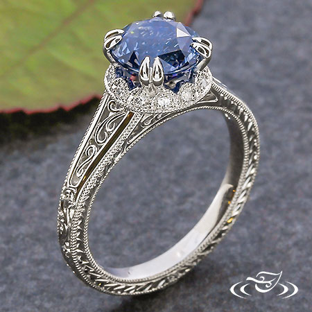 SCALLOPED DIAMOND SAPPHIRE ENGAGEMENT RING
