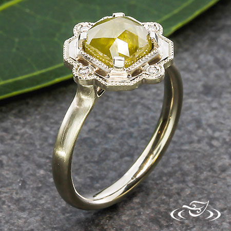 CONTEMPORARY SOLITAIRE WITH ROSE CUT DIAMOND