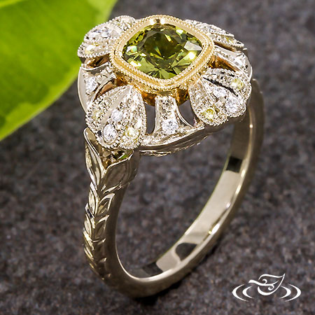 OLIVE SAPPHIRE ENGAGEMENT RING WITH FLORAL HALO
