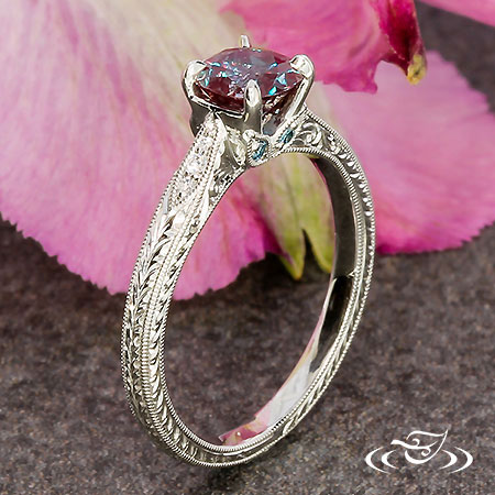 ENGRAVED ALEXANDRITE ENGAGEMENT RING