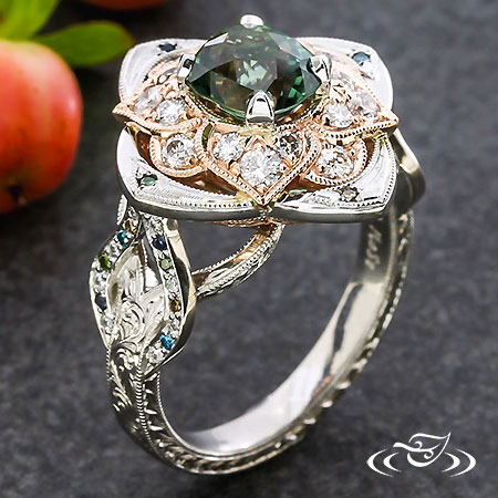 MONTANA SAPPHIRE & DIAMOND FLORAL HALO RING WITH PEACOCK ACCENTS