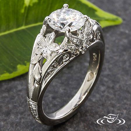 Diamond Lotus Flower Engagement Ring