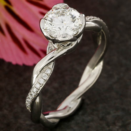 PLATINUM TWISTED DIAMOND ENGAGEMENT RING