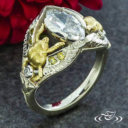 GOLDEN SCARAB ENGAGEMENT RING