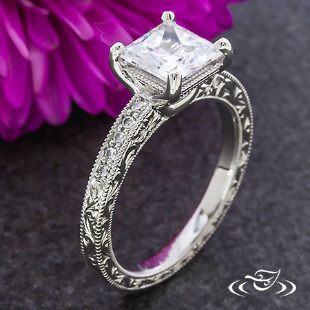 PRINCESS CUT ANTIQUE INSPIRED RING