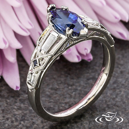 ART DECO MARQUISE SAPPHIRE ENGAGEMENT RING