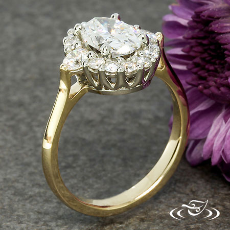 TWO TONE OVAL DIAMOND HALO ENGAGEMENT RING