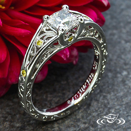 FILIGREE AND YELLOW DIAMOND ENGAGEMENT RING