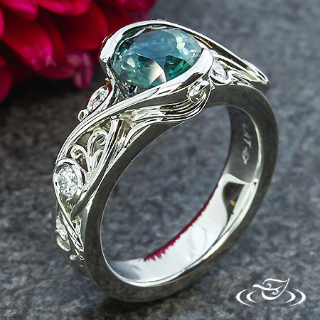MONTANA SAPPHIRE WRAP AND FILIGREE ENGAGEMENT RING