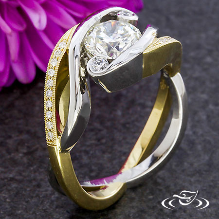 TWO TONE TWISTING ENGAGEMENT RING