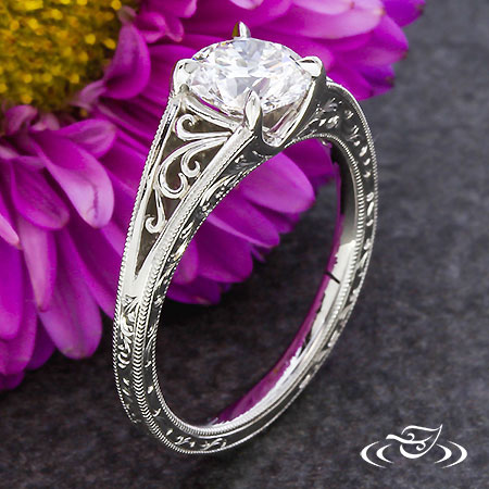 PLATINUM FILIGREE AND SCROLL ENGRAVED ENGAGEMENT RING