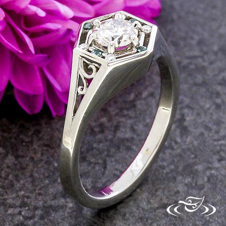 HEXAGONAL ALEXANDRITE DIAMOND RING WITH FILIGREE