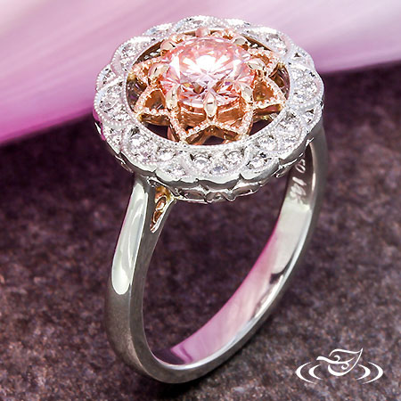 DELICATE HALO RING WITH ROSE GOLD ACCENTS