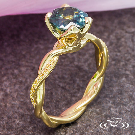 GOLDEN TWIST MONTANA SAPPHIRE ENGAGEMENT RING