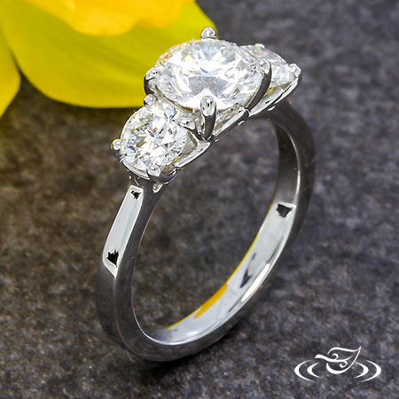THREE STONE LOTUS ENGAGEMENT RING