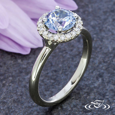 PERIWINKLE SAPPHIRE HALO ENGAGEMENT RING