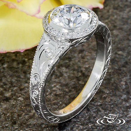 ANTIQUE ENGRAVED HALO ENGAGEMENT RING