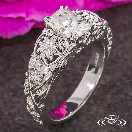 CARVED DAISY ENGAGEMENT RING