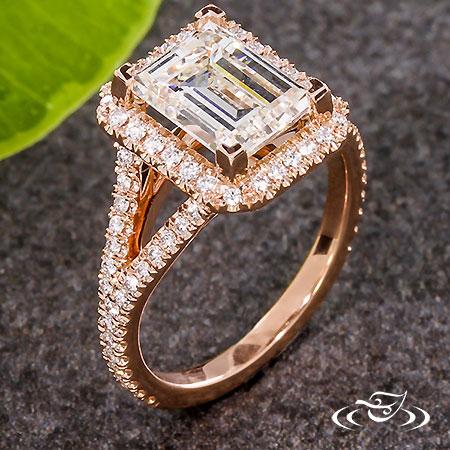 ROSE GOLD EMERALD CUT DIAMOND HALO
