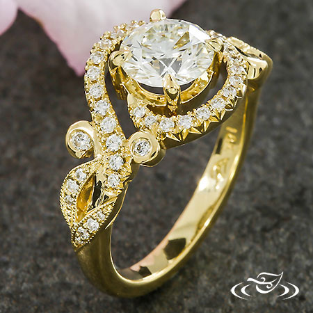 GOLDEN SWIRL ENGAGEMENT RING