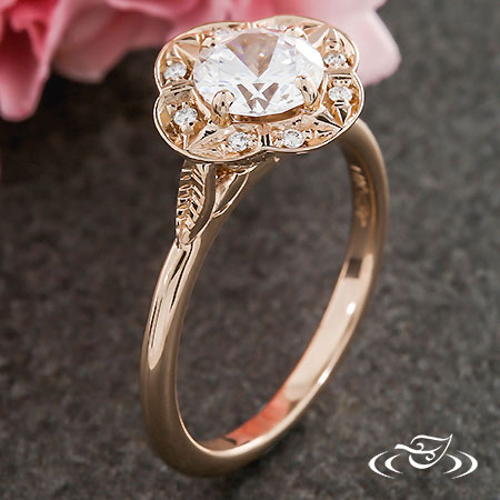 CUSTOM 14K ROSE GOLD DIAMOND HALO ENGAGEMENT RING