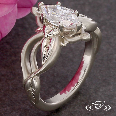 FLOWING WHITE GOLD VINE AND LEAF ENGAGEMENT RING