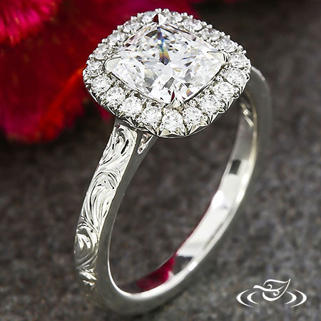 ENGRAVED HALO ENGAGEMENT RING