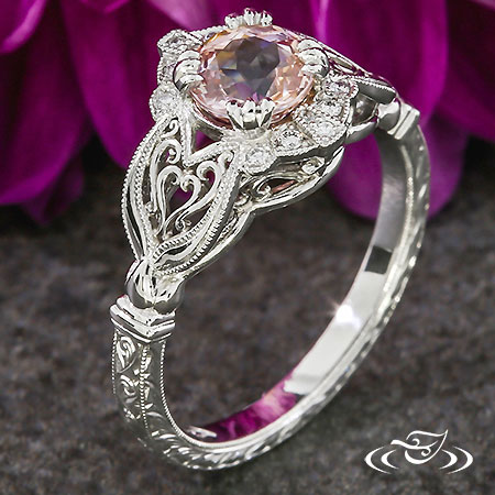 PLATINUM PINK SAPPHIRE ENGAGEMENT RING WITH HEARTS