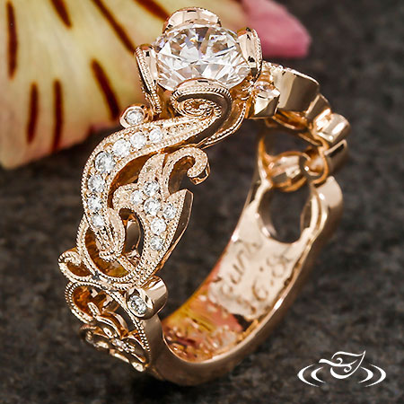 ROSE GOLD & DIAMOND PIERCED SCROLL ENGAGEMENT RING