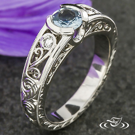 ANTIQUE STYLE MONTANA SAPPHIRE ENGAGEMENT RING