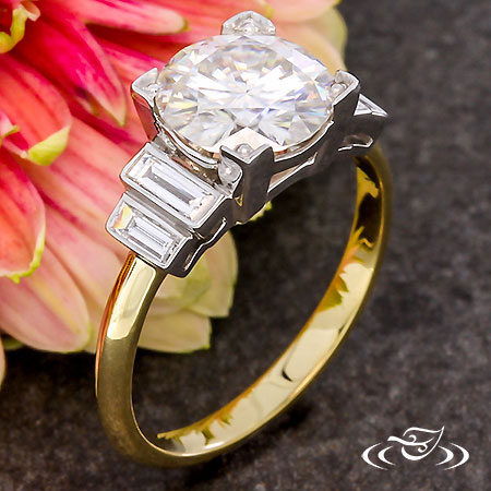 TWO TONE ART DECO INSPIRED ENGAGEMENT RING