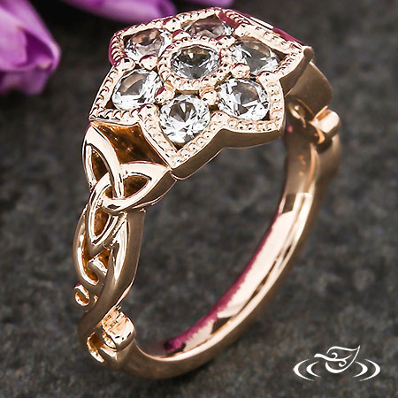 CELTIC CLUSTER HALO ENGAGEMENT RING