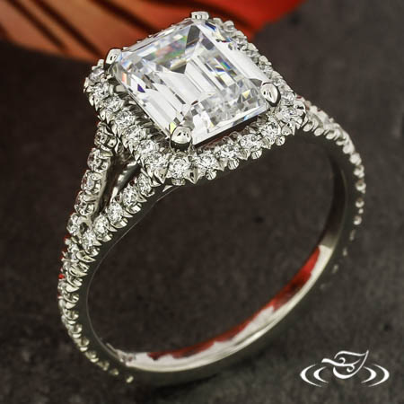 PLATINUM EMERALD CUT DIAMOND HALO