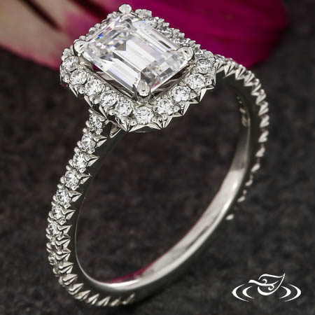 EMERALD CUT HALO ENGAGEMENT