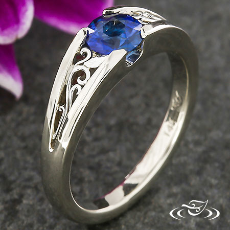BLUE SAPPHIRE FILIGREE ENGAGEMENT RING