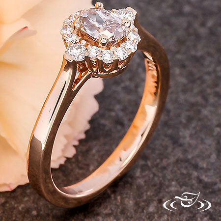 PINK DIAMOND SHARED PRONG HALO ENGAGEMENT RING