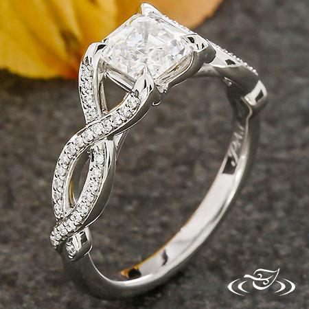 ASSCHER DIAMOND TWIST ENGAGEMENT RING
