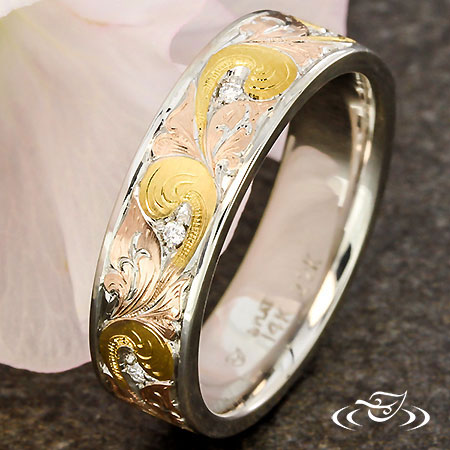 PLATINUM ORNATE ENGRAVED BAND WITH INLAY