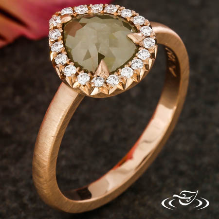 RUSTIC RINGHAMMER ROSE CUT DIAMOND HALO