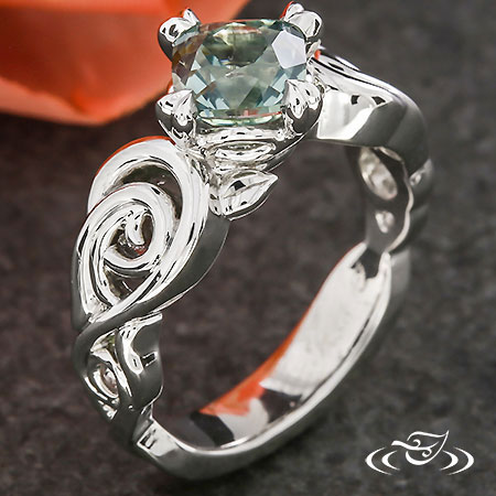 LEAF AND SCROLL ENGAGEMENT RING