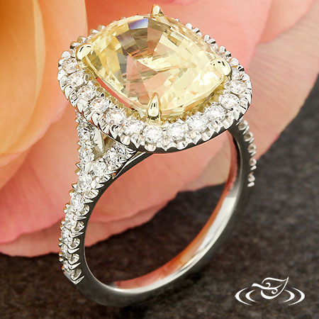 CANARY SAPPHIRE HALO ENGAGEMENT RING