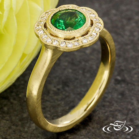 EMERALD SCALLOPED HALO ENGAGEMENT RING