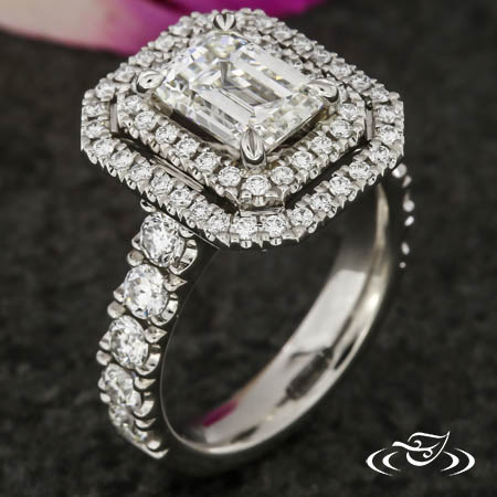 CLASSIC EMERALD CUT DIAMOND ENGAGEMENT RING WITH DOUBLE HALO