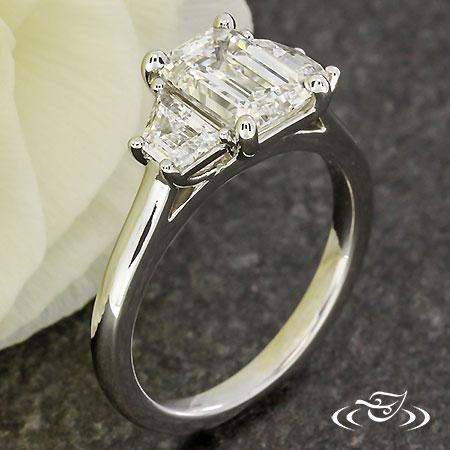 GEOMETRIC THREE STONE ENGAGEMENT RING