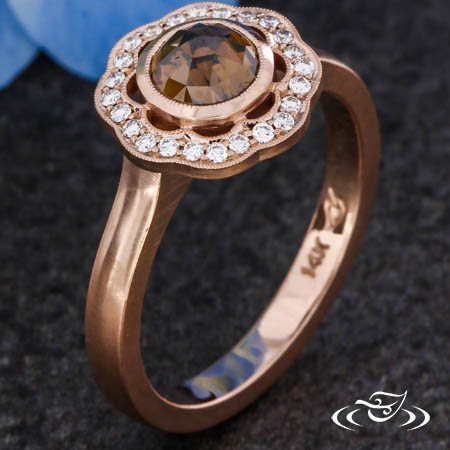SCALLOPED ROSE CUT HALO RING