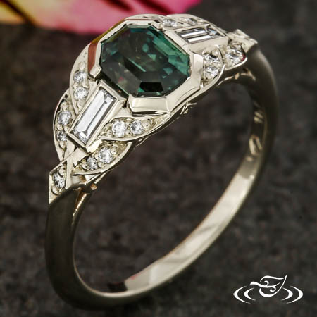 VINTAGE EMERALD CUT SAPPHIRE ENGAGEMENT RING